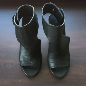 Vince Leather Open Toe Bootie